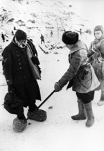 Soviet soldier in makeshift boots, Stalingrad, Russia, 1 Feb 1943