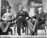 Stalin, Roosevelt, and Churchill on the portico of the Russian Embassy during the Tehran Conference, 29 Nov 1943, photo 1 of 2