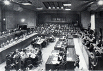 International Military Tribunal for the Far East in session, Ichigaya Court, Tokyo, Japan, 1946; judges on left, defendants on right, and prosecutors in back