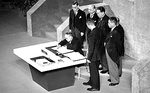 Prime Minister Shigeru Yoshida signing the Treaty of San Francisco, California, United States, 8 Sep 1951, photo 1 of 2