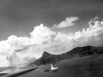 Japanese ships being bombed during attack on Truk, Caroline Islands, 17 Feb 1944; photo taken by an aircraft from USS Intrepid