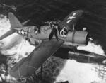 OS2U Kingfisher recovered by Baltimore after the aircraft rescued downed pilot Lt. George Blair, off Truk, 18 Feb 1944