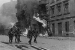 German SS troops on Nowolipie Street in Warsaw, Poland during the Warsaw Ghetto Uprising, Apr-May 1943