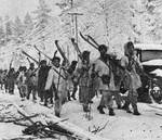 Finnish troops on the march, Jan 1940