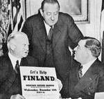 Former US President Herbert Hoover, Dr. van Loon, and Mayor Fiorello LaGuardia raising funds for Finland for the Winter War, New York, New York, United States, 20 Dec 1939