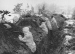 Finnish troops in a trench on the Mannerheim Line, Finland, 1939-1940
