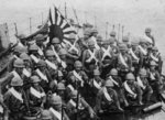 Japanese Special Naval Landing Force troops aboard a transport at Anqing, China, 11 Jun 1938