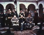 Churchill, Roosevelt, and Stalin at the Livadia Palace in Yalta, Russia (now Ukraine), Feb 1945, photo 1 of 4