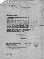 Message from Harry Truman to Samuel Cavert in regards to the use of atomic bombs against Japan, 11 Aug 1945