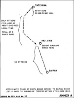 Approximate path of Japanese convoy toward Saipan, Mariana Islands which was attacked by American submarines on 6 Jun 1944; appendix A of Commander Tadao Kuwahara