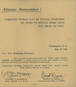 Message from George Marshall and Ernest King to US military personnel returning from war zones, 15 May 1943, page 1 of 2