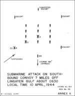 Drawing of submarine attack on Japanese convoy off Philippine Islands on 10 Apr 1944, annex A of Lieutenant Commander Yasumoto