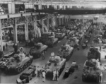 M4 Sherman tanks being built at the Detroit Arsenal Tank Plant, Warren, Michigan, United States, 1940s