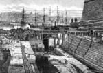 Drawing of the new dock at Grand Harbour, Malta as seen in the 24 Oct 1867 issue of publication Illustrated London News