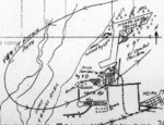 Hand-drawn map of Air Group 80 of USS Ticonderoga 9 Jan 1945 attack on Heito Airfield, southern Taiwan