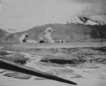 Karenko Airfield under attack by aircraft of USS Hancock, Taiwan, 12 Oct 1944, photo 1 of 2