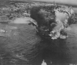 Mako harbor under USAAF B-25 bomber attack, Pescadores Islands, Taiwan, 4 Apr 1945, photo 1 of 2