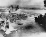 Mako harbor under USAAF B-25 bomber attack, Pescadores Islands, Taiwan, 4 Apr 1945, photo 2 of 2