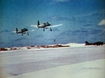 SB2U-3 Vindicator aircraft of US Marine Corps squadron VMSB-241 taking off from Eastern Island, Midway Atoll, 4-6 Jun 1942, photo 2 of 3