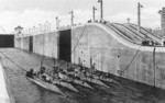 US submarines C-1, C-2, C-3, C-4, and C-5 in the Gatun Locks of Panama Canal, circa 1914