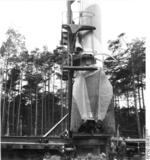 Rail-mounted V-2 rocket, Peenemünde, Germany, 1940s, photo 2 of 4