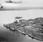 Two Royal Australian Air Force Avro Lincoln heavy bombers flying over Sembawang naval base, Singapore, 2 Jun 1953