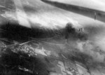 Taichu Airfield under attack by USS Ticonderoga carrier aircraft, Taichu (now Taichung), Taiwan, 3 Jan 1945, photo 2 of 3