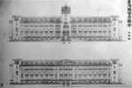 Architectural plans for the exterior of Taihoku General Government Building of Taiwan by Uheiji Nagano, circa 1906