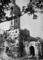 Taihoku General Government Building damaged by American bombing, Taiwan, May-Jun 1945