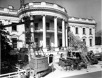 Construction equipment outside the White House during major renovation, Washington DC, United States, 27 Feb 1950