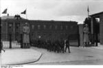 Members of Hitler Youth marching out of the Berlin-Lichterfelde barracks belonging to Leibstandarte-SS Adolf Hitler, Berlin, Germany, circa 1942