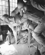 Sculptor Felix de Weldon working on the plaster model of the US Marine Corps War Memorial, circa 1954, photo 3 of 7