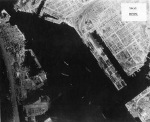 Takao (now Kaohsiung) harbor under US aerial attack, Taiwan, 17 Nov 1944, photo 3 of 5