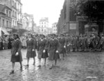 African-American members of the US Army 6888th Central Postal Directory Battalion parading in honor of Joan d