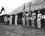 USAAF men in decoration formation, Nadzab Airfield, Australian New Guinea, early 1944