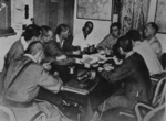 USMC Colonel A. D. Cooley conferring with Japanese officers over the liberation of US prisoners of war, Taiwan, 5 Sep 1945