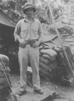 US Marine munitions officer John Day at a field office of 7th Marine Regiment, Guadalcanal, 1942