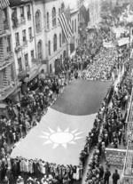 Chinese-Americans parading in support of China against Japanese invasion, New York, New York, United States, 12 May 1938