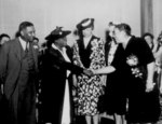 Mrs. Eleanor Roosevelt at the opening of Midway Hall, Washington, DC, United States, May 1943; the hall was built by Public Buildings Administration of FWA for African-American female gov