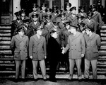 Mayor Fiorello H. La Guardia of New York City, New York, United States greeting Major Galen B. Price and his African-American cadets of US Army Air Forces, 16 Feb 1944