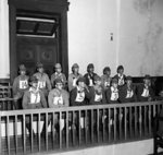 Fourteen Japanese accused of the 637 murders at Kalagon Village on trial, Rangoon, Burma, 22 Mar 1946