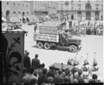 American trucks returning part of US$500 million worth of Florentine artwork looted by Germans, Piazzo Dei Signoria, Florence, Italy, 21 Jul 1945