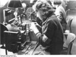 Danish woman working in a German factory, 21 Jun 1941; she could be identified as Danish by her