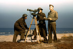 US Army personnel training with an azimuth instrument, Fort Story, Virginia, United States, Mar 1942