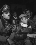 African-American airmen of the US 332nd Fighter Group at a briefing, Ramitelli, Italy, Mar 1945