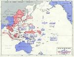 Map showing the summary of Allied campaigns and Japanese dispositions in the Pacific Ocean as of 1 Feb 1945