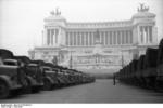 German trucks parked before the Monument to Vittorio Emanuele II in Rome, Italy, 4 Jan 1944; they were about to be used to transfer Italian artwork to Germany