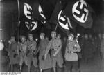 Nazi Party members parading in front of the Chancellor