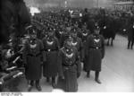 Nazi Party SA military police men on march in the funeral procession of SS-Gruppenführers Seidel-Dittmarsch, 23 Feb 1934