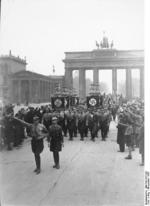 Nazi Party SA men in parade before the Brandenburg Gate, Berlin, Germany, Nov 1933